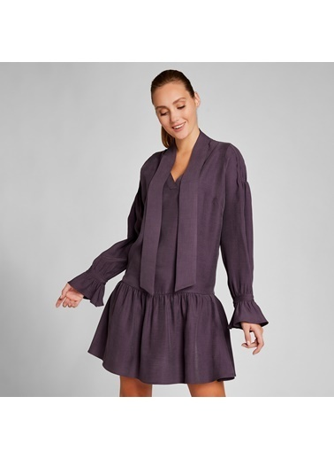 Vekem-Limited Edition Boyundan Bağlamalı Volanlı Elbise Lila